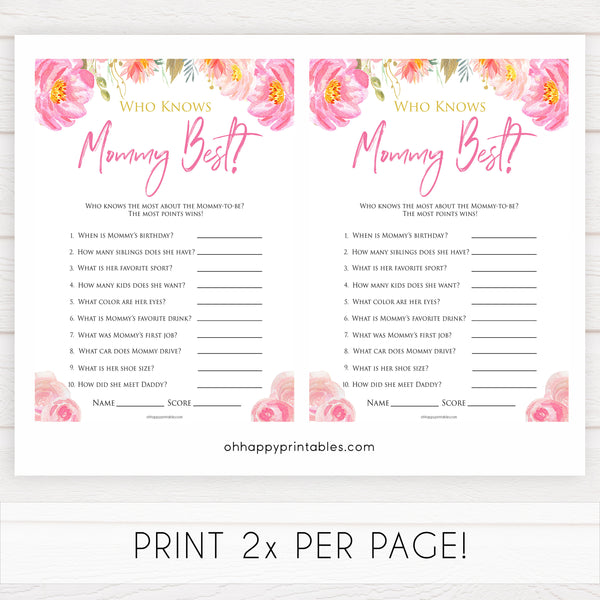 Pink blush floral baby shower who knows mommy best, who knows mummy best game, printable baby games, baby shower games, blush baby shower, floral baby games, girl baby shower ideas, pink baby shower ideas, floral baby games, popular baby games, fun baby games