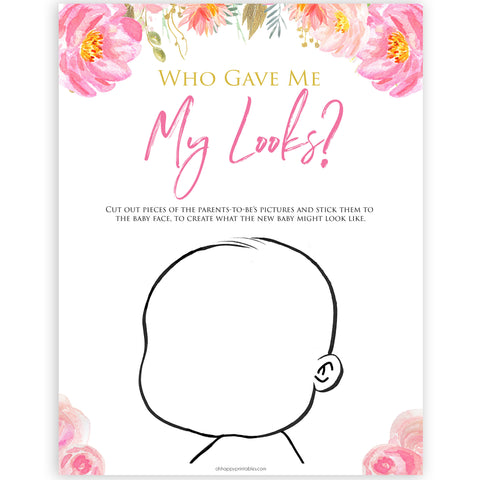 Pink blush floral baby shower what am I game, printable baby games, baby shower games, blush baby shower, floral baby games, girl baby shower ideas, pink baby shower ideas, floral baby games, popular baby games, fun baby games