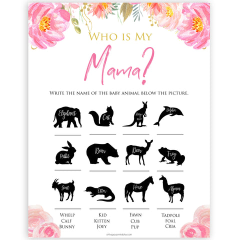 Pink blush floral baby shower who is my mama game, printable baby games, baby shower games, blush baby shower, floral baby games, girl baby shower ideas, pink baby shower ideas, floral baby games, popular baby games, fun baby games
