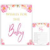 Pink blush floral baby shower wishes for the baby game, printable baby games, baby shower games, blush baby shower, floral baby games, girl baby shower ideas, pink baby shower ideas, floral baby games, popular baby games, fun baby games