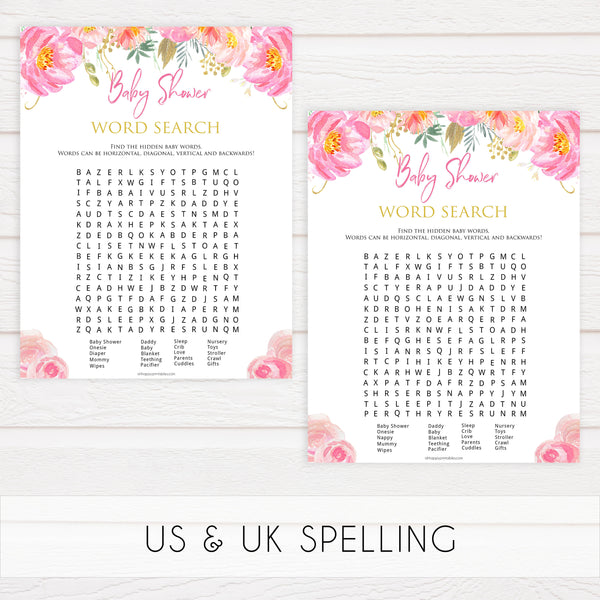 baby shower word search game, baby word search game, Printable baby shower games, blush floral fun baby games, baby shower games, fun baby shower ideas, top baby shower ideas, blush baby shower, blue baby shower ideas