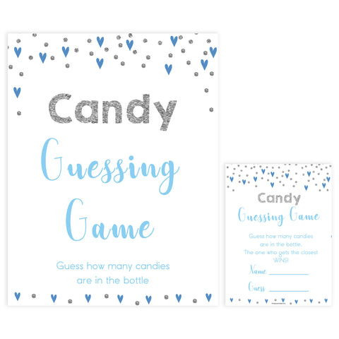 candy guessing game, how many candies game, Printable baby shower games, small blue hearts fun baby games, baby shower games, fun baby shower ideas, top baby shower ideas, silver baby shower, blue hearts baby shower ideas