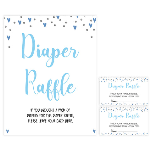 diaper raffle game, diaper raffle, Printable baby shower games, small blue hearts fun baby games, baby shower games, fun baby shower ideas, top baby shower ideas, silver baby shower, blue hearts baby shower ideas