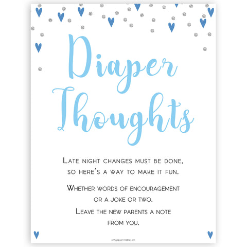 diaper thoughts game, late night diapers, Printable baby shower games, small blue hearts fun baby games, baby shower games, fun baby shower ideas, top baby shower ideas, silver baby shower, blue hearts baby shower ideas