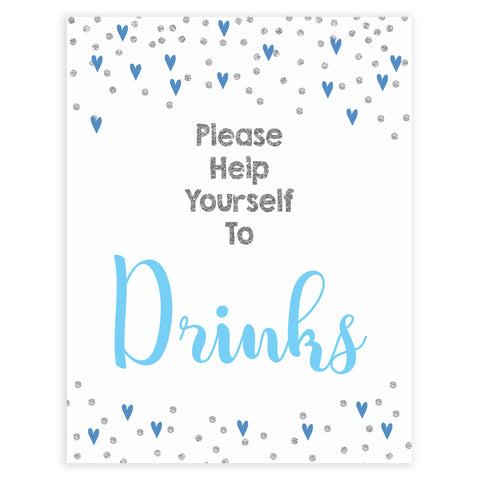 drinks baby shower signs, drinks baby table signs, Blue hearts baby decor, printable baby table signs, printable baby decor, silver glitter table signs, fun baby signs, blue hearts fun baby table signs