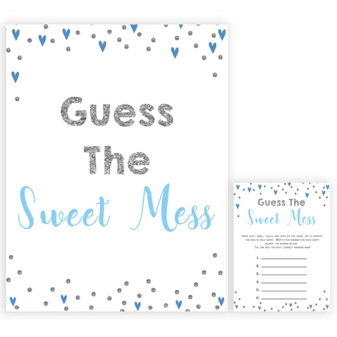 guess the sweet mess, Printable baby shower games, small blue hearts fun baby games, baby shower games, fun baby shower ideas, top baby shower ideas, silver baby shower, blue hearts baby shower ideas