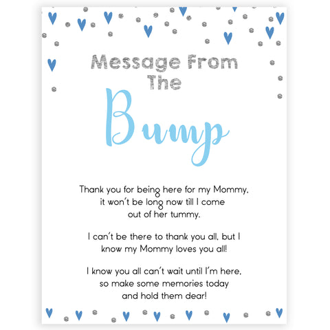 message from the bump, baby message, Printable baby shower games, small blue hearts fun baby games, baby shower games, fun baby shower ideas, top baby shower ideas, silver baby shower, blue hearts baby shower ideas