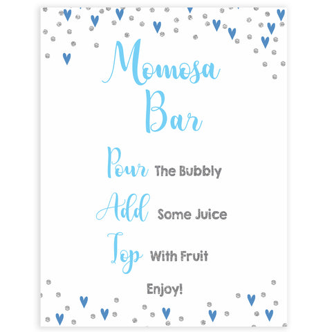 momosa baby table sign, momosa baby sign, Blue hearts baby decor, printable baby table signs, printable baby decor, silver glitter table signs, fun baby signs, blue hearts fun baby table signs