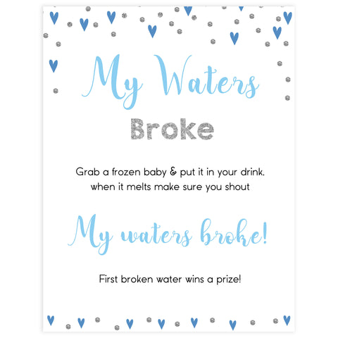 my water broke game, don't say baby game, Printable baby shower games, small blue hearts fun baby games, baby shower games, fun baby shower ideas, top baby shower ideas, silver baby shower, blue hearts baby shower ideas