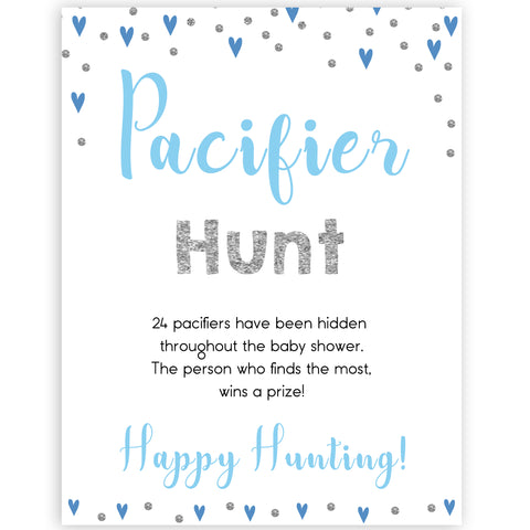 pacifier hunt game, Printable baby shower games, small blue hearts fun baby games, baby shower games, fun baby shower ideas, top baby shower ideas, silver baby shower, blue hearts baby shower ideas
