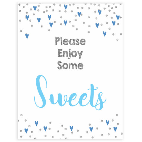 Sweets baby shower table signs, sweets baby signs, Blue hearts baby decor, printable baby table signs, printable baby decor, silver glitter table signs, fun baby signs, blue hearts fun baby table signs
