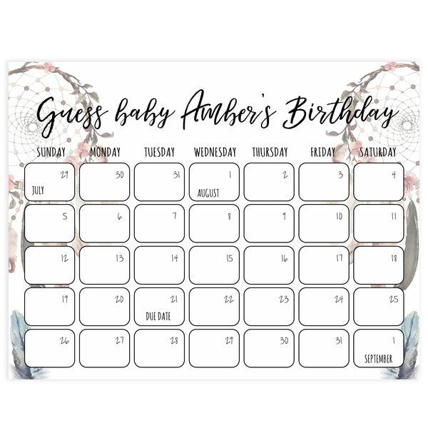 guess the baby birthday game, baby birthday prediction game, printable baby shower games, boho baby shower decor dreamcatcher baby shower games