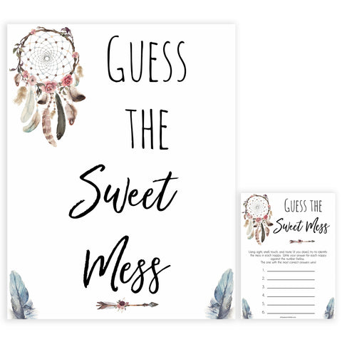 Boho baby games, guess the sweet mess baby game, fun baby games, printable baby games, top 10 baby games, boho baby shower, baby games, hilarious baby games