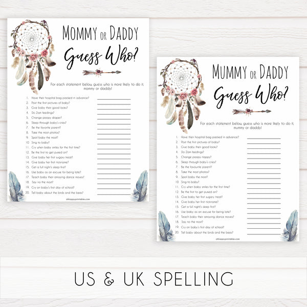 Boho baby games, guess who's more likely baby game, fun baby games, printable baby games, top 10 baby games, boho baby shower, baby games, hilarious baby games