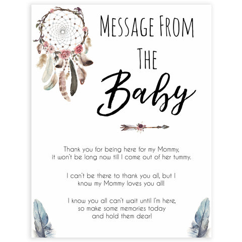 Boho baby games, message from the bump baby game, fun baby games, printable baby games, top 10 baby games, boho baby shower, baby games, hilarious baby games