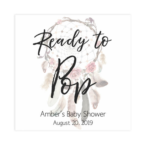 ready to pop tags, pop tags, Printable baby shower games, boho baby shower games, dreamcatcher baby games, fun baby shower games, top baby shower ideas