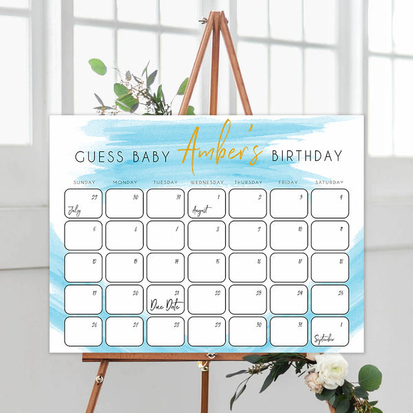 guess the baby birthday game, printable baby shower games, fun baby games, blue baby shower games, baby birth predictions game