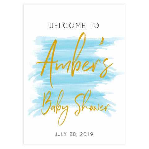 baby welcome sign, printable baby shower welcome sign, blue baby decor, blue baby shower decor, blue baby signs,