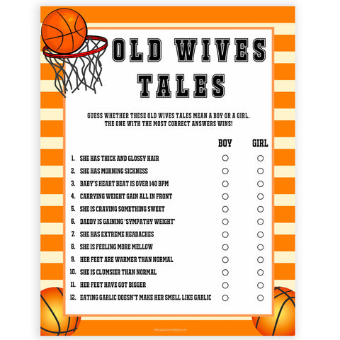 Old wives tales, baby wives tales, Printable baby shower games, basketball fun baby games, baby shower games, fun baby shower ideas, top baby shower ideas, basketball baby shower, basketball baby shower ideas