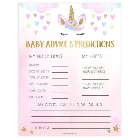 baby advice and predictions keepsake, Printable baby shower games, unicorn baby games, baby shower games, fun baby shower ideas, top baby shower ideas, unicorn baby shower, baby shower games, fun unicorn baby shower ideas
