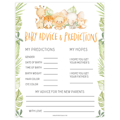 baby advice and predictions game, Printable baby shower games, safari animals baby games, baby shower games, fun baby shower ideas, top baby shower ideas, safari animals baby shower, baby shower games, fun baby shower ideas