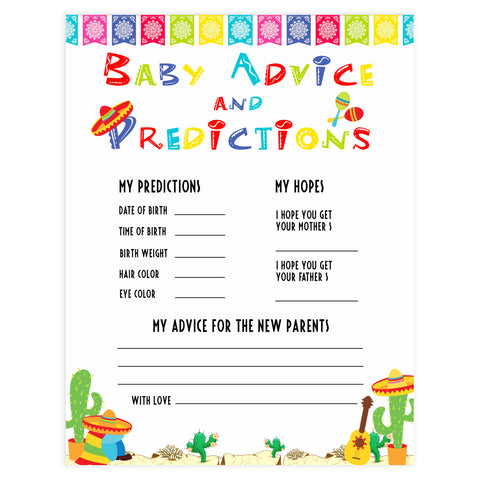 baby advice and predictions game, baby keepsake, Printable baby shower games, Mexican fiesta fun baby games, baby shower games, fun baby shower ideas, top baby shower ideas, fiesta shower baby shower, fiesta baby shower ideas