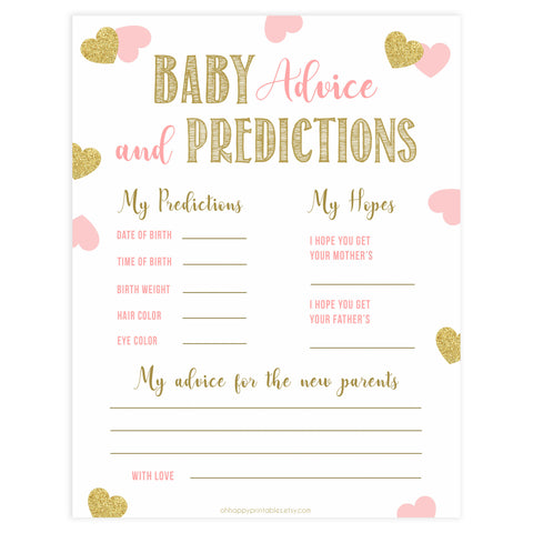 baby advice and predictions keepsake, baby advice, Printable baby shower games, large pink hearts fun baby games, baby shower games, fun baby shower ideas, top baby shower ideas, gold pink hearts shower baby shower, pink hearts baby shower ideas