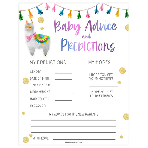 baby advice and predictions keepsake, Printable baby shower games, llama fiesta fun baby games, baby shower games, fun baby shower ideas, top baby shower ideas, Llama fiesta shower baby shower, fiesta baby shower ideas