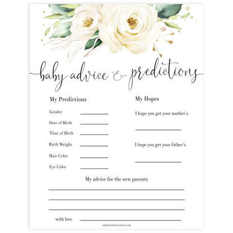 baby advice and predictions keepsake, Printable baby shower games, shite floral baby games, baby shower games, fun baby shower ideas, top baby shower ideas, floral baby shower, baby shower games, fun floral baby shower ideas