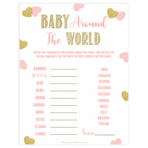 baby around the world game, Printable baby shower games, large pink hearts fun baby games, baby shower games, fun baby shower ideas, top baby shower ideas, gold pink hearts shower baby shower, pink hearts baby shower ideas