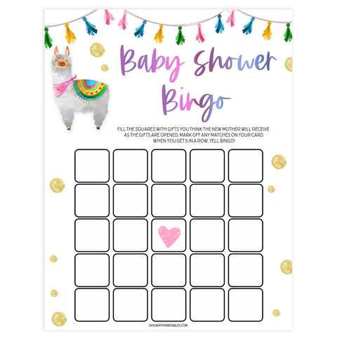 baby shower bingo game, Printable baby shower games, llama fiesta fun baby games, baby shower games, fun baby shower ideas, top baby shower ideas, Llama fiesta shower baby shower, fiesta baby shower ideas