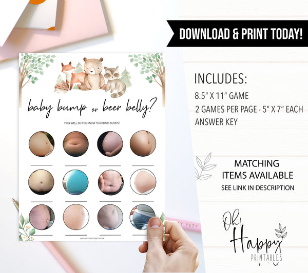 baby bump or beer belly games, Printable baby shower games, woodland animals baby games, baby shower games, fun baby shower ideas, top baby shower ideas, woodland baby shower, baby shower games, fun woodland animals baby shower ideas