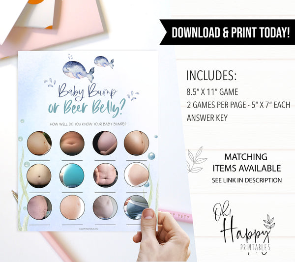 baby bump or beer belly game, Printable baby shower games, whale baby games, baby shower games, fun baby shower ideas, top baby shower ideas, whale baby shower, baby shower games, fun whale baby shower ideas