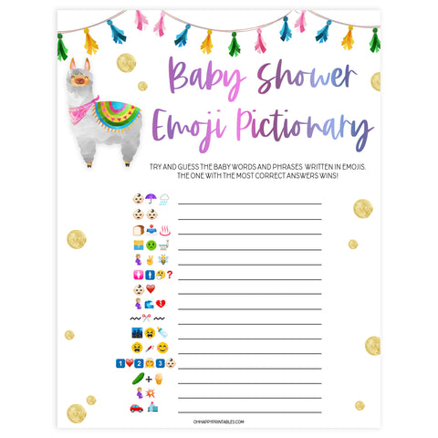 baby shower emoji pictionary game, Printable baby shower games, llama fiesta fun baby games, baby shower games, fun baby shower ideas, top baby shower ideas, Llama fiesta shower baby shower, fiesta baby shower ideas