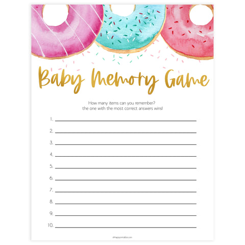 baby memory game, Printable baby shower games, donut baby games, baby shower games, fun baby shower ideas, top baby shower ideas, donut sprinkles baby shower, baby shower games, fun donut baby shower ideas