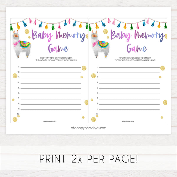 baby memory game, Printable baby shower games, llama fiesta fun baby games, baby shower games, fun baby shower ideas, top baby shower ideas, Llama fiesta shower baby shower, fiesta baby shower ideas