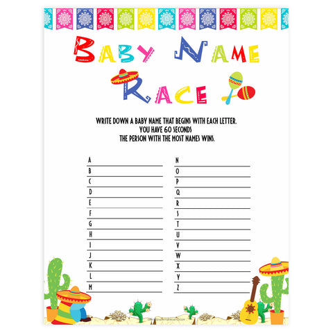 baby name race game, Printable baby shower games, Mexican fiesta fun baby games, baby shower games, fun baby shower ideas, top baby shower ideas, fiesta shower baby shower, fiesta baby shower ideas