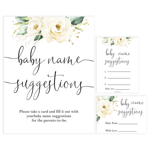 baby name suggestions game, Printable baby shower games, shite floral baby games, baby shower games, fun baby shower ideas, top baby shower ideas, floral baby shower, baby shower games, fun floral baby shower ideas