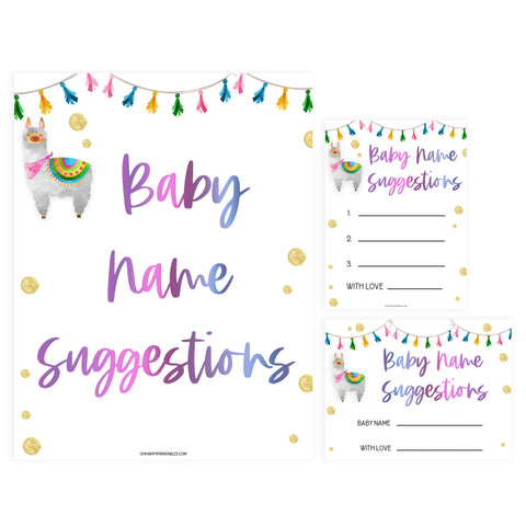 baby name suggestions game, Printable baby shower games, llama fiesta fun baby games, baby shower games, fun baby shower ideas, top baby shower ideas, Llama fiesta shower baby shower, fiesta baby shower ideas