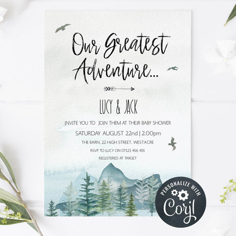our greatest adventure yet baby shower invitation, editable baby shower invitations, adventure awaits baby shower invitation, baby invites, baby adventure theme