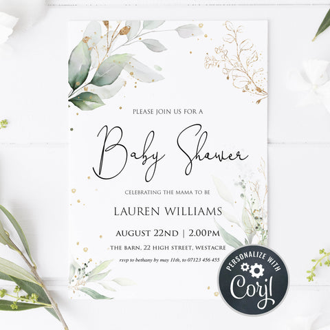 gold leaf baby shower invitations, baby shower invitations, editable baby shower invites, floral baby shower invite