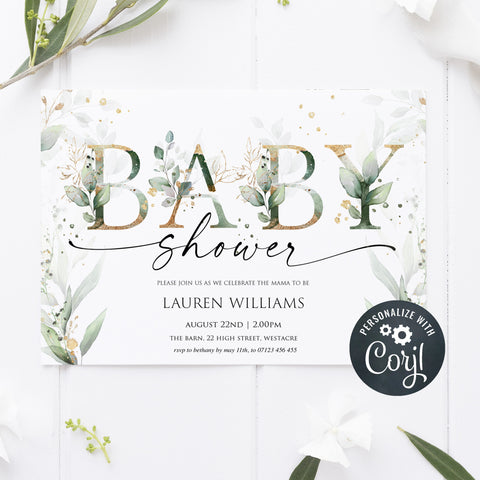 floral gold baby shower invitation, editable baby shower invitation, floral baby shower invite