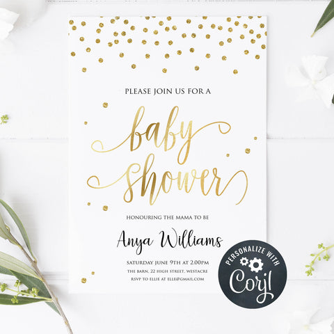 gold glitter baby shower invitation, gold baby shower, editable baby shower invites, baby shower invites