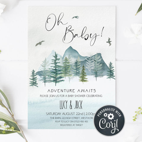 oh baby baby shower invitation, adventure awaits baby shower invitation, editable baby shower invitations, corjl baby shower invitaitons