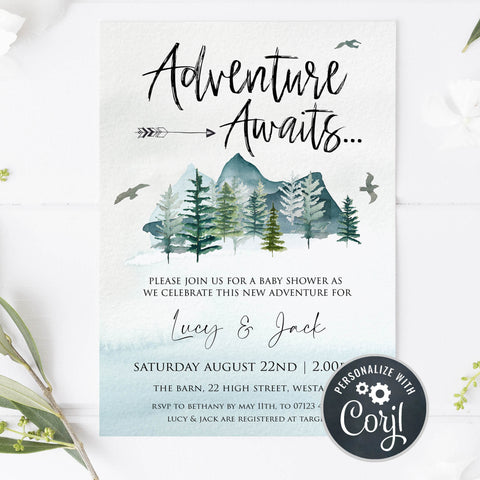 editable baby shower invitations, adventure awaits baby shower invitation, baby invites, baby adventure theme