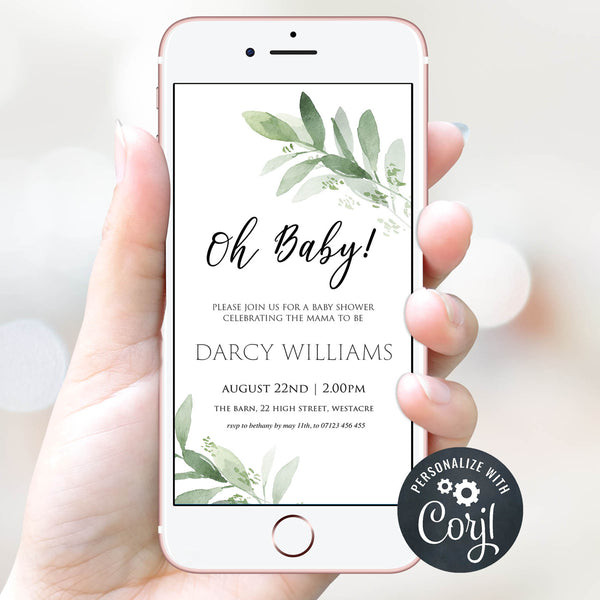 editable baby shower invitations, mobile baby shower invite, evite baby shower, botanical baby shower invitations, printable baby shower invitations, baby shower invite