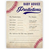 baby advice and predictions baseball theme baby shower games, baseball baby games, baseball baby shower themes