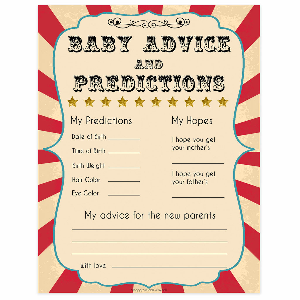 New Baby Advice Predictions Circus Printable Baby Shower Games