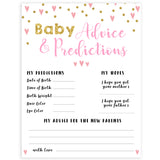 pink hearts baby shower, baby advice and predictions baby game, printable baby games, pink baby games, girl baby games, top 10 baby games, fun baby games