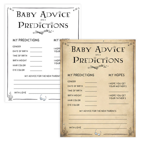 Baby advice and predictions game, baby advice keepsake, Wizard baby shower games, printable baby shower games, Harry Potter baby games, Harry Potter baby shower, fun baby shower games,  fun baby ideas